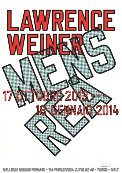 Lawrence Weiner, 'Mens Rea (Signed)', 2013