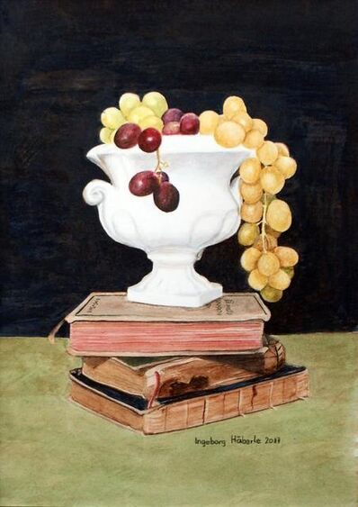 Ingeborg Haeberle, 'grapes and books', 2017