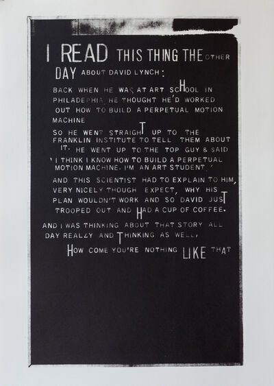 Jane Topping, 'I read this thing the other day…'