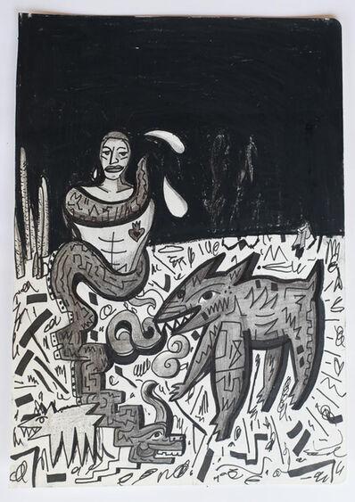 Felix Francisco Quintana, 'Migrantes y coyote en la frontera', 2017