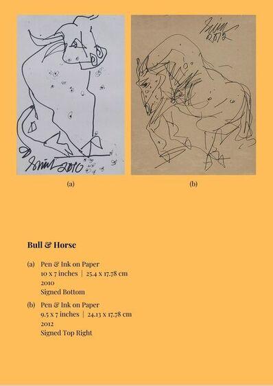 "Sunil Das, 'Bull & Horse, Pen & Ink on Paper (Set of 2) by Modern Indian Artist ""In Stock""', 2010-2012"