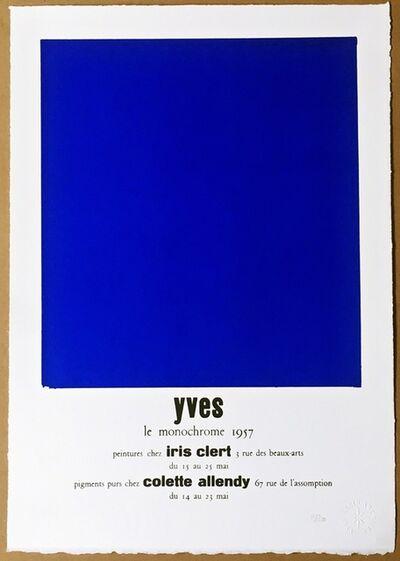 Yves Klein, 'Yves le Monochrome, 1957, Peintures Chez Iris Clert (Certified by Yves Klein Archives)', 2015