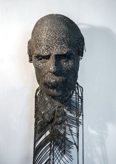 Darius Hulea, 'Dimitrie Paciurea metal portrait, Romanian sculptor', 2017