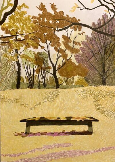 Per Adolfsen, 'Bench in a park in November', 2020