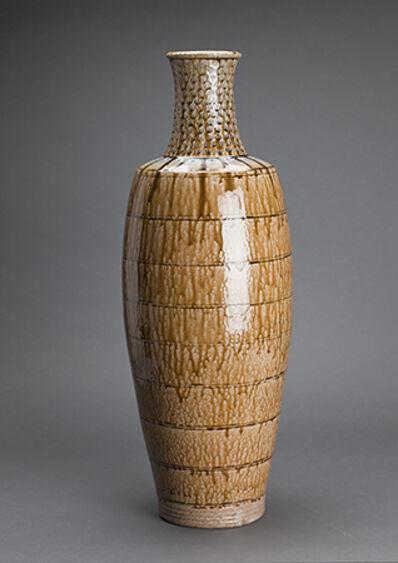 Mark Hewitt, 'Ten-gallon vase, alkaline glaze with blue glass runs and stamped decoration on neck'