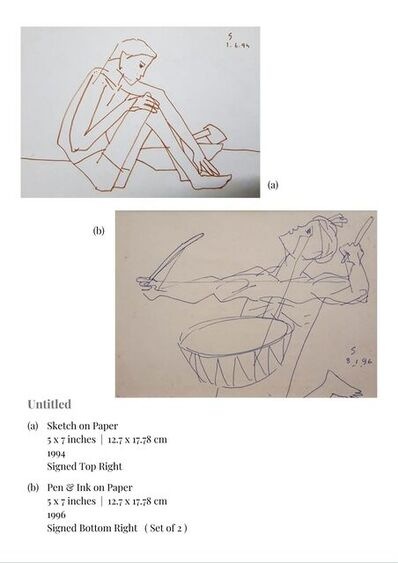 """Somnath Hore, 'Untitled, Sketch on Paper & Pen & Ink on Paper (Set of 2) by Contemporary Indian Artist """"In Stock""""', 1994-1996"""