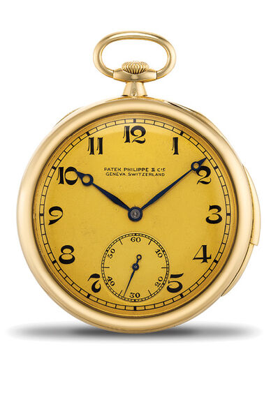 Patek Philippe, 'An elegant and fine yellow gold minute repeating open face pocket with presentation box', 1922