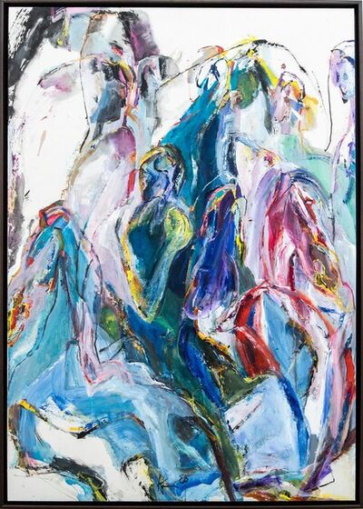 Andrew Lui, 'Flight to Egypt IV - pink, blue, gestural, abstract, acrylic, ink, mixed media', 2020