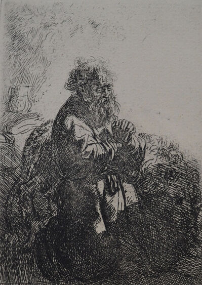 Rembrandt van Rijn, 'St. Jerome Kneeling in Prayer, Looking Down ', Etched in 1635, Printed in 1906 (Beaumont, Paris)