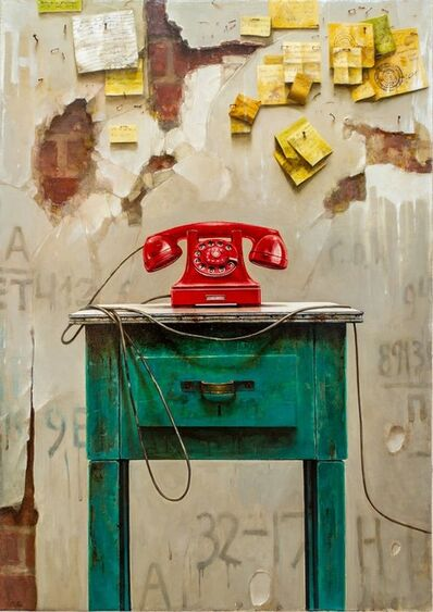 Dmitry Yuzefovich, 'Red Phone - Vibrant still life oil on canvas', 2020