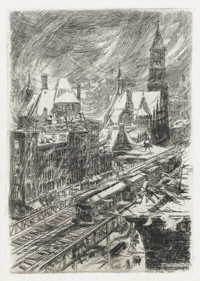 John Sloan, 'Snowstorm in the Village', 1925