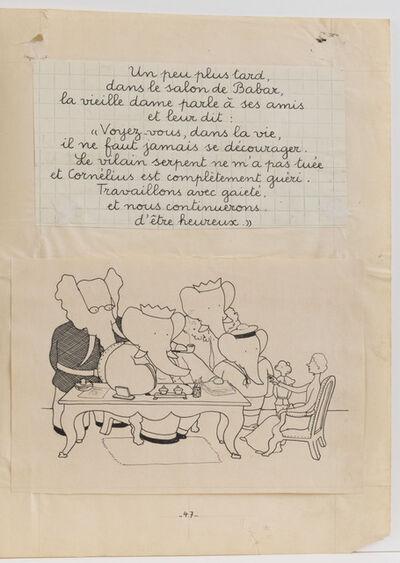 "Jean de Brunhoff, '""In Babar's living room...,"" illustration for Babar and His Children', 1936"