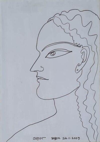 """Jogen Chowdhury, 'Lady, Pen & Ink on Paper by Modern Artist """"In Stock""""', 2009"""