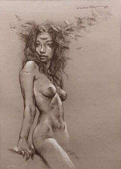 "Sanatan Dinda, 'Nude, Conte on Paper by Contemporary Artist ""In Stock""', 2010"