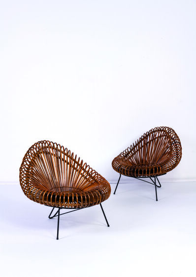 Attributed to Franco Albini, 'Pair of lounge chairs', vers 1960