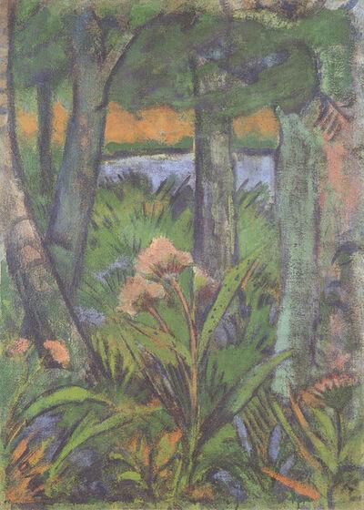 Otto Mueller, 'Waldstück mit Blumen und Teich', ca. 1925