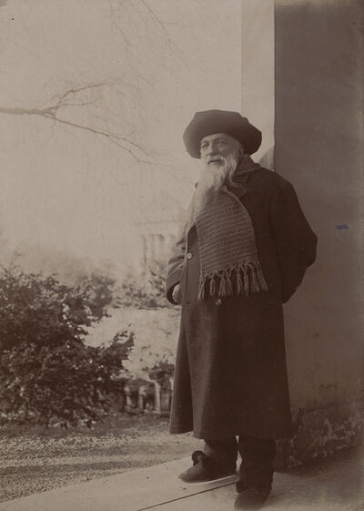 Dornac, 'Rodin Standing Outside with Wide Beret, Meudon, France', 1917/1917