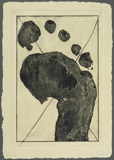 Jonathan Borofsky, 'Half Foot Etching with Black Cross (State)', 1992