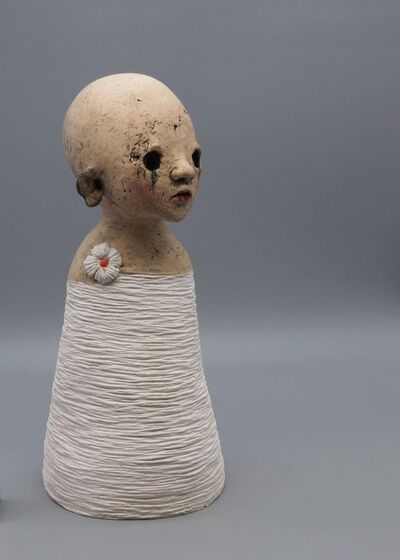 Nathalie Gauglin, 'N°460 Petite fleur sur robe striée', 2021