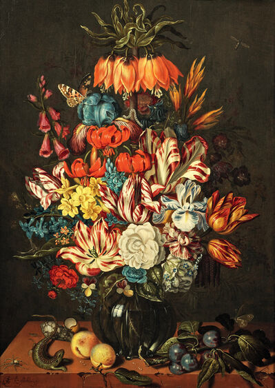 Ambrosius Bosschaert, the younger, 'Bouquet of flowers in a vase placed on a table covered with fruits and shells', Circa 1634