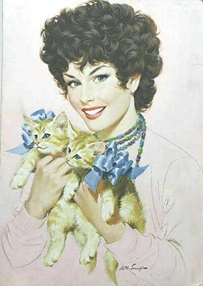 Arthur Sarnoff, 'Pretty Girl with Kittens'