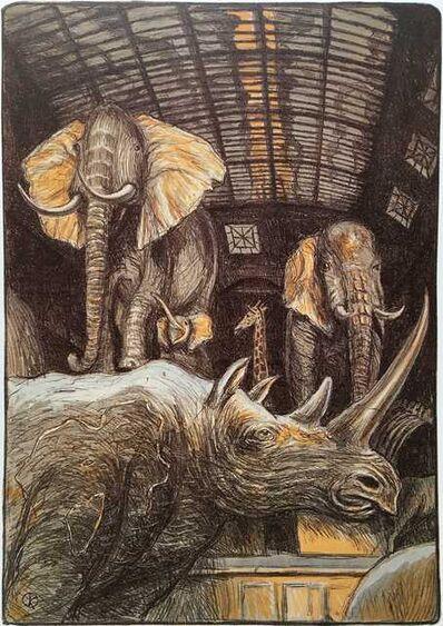 Jürg Kreienbühl, 'Rhinocéros et éléphants', 1984