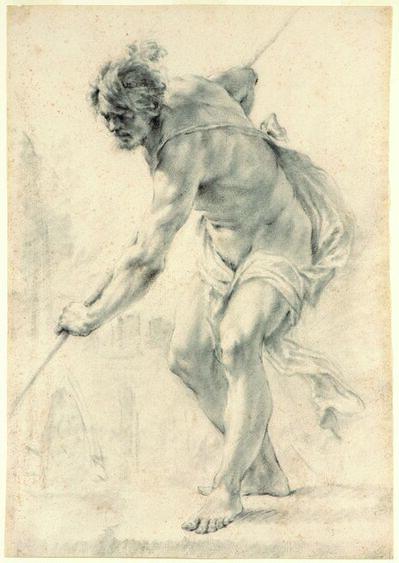 FRANCESCO MONTI, 'Study of a Male Nude Holding a Pole'