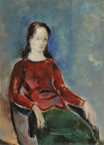 Josef Floch, 'Lady with red Top', 1955