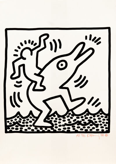 Keith Haring, 'Antropomorphic dolphin', 1988