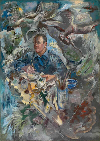 George Grosz, 'Self-Portrait with Bird of Prey and Rat', 1940