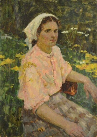Aleksey Ivanovich Borodin, 'Valia among flowers', 1952