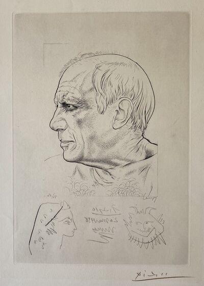 """Pablo Picasso, 'Paul Lemagny """"Portrait de Picasso"""" et Remarque by Pablo Picasso pour 'Temoignage'', 1956"""