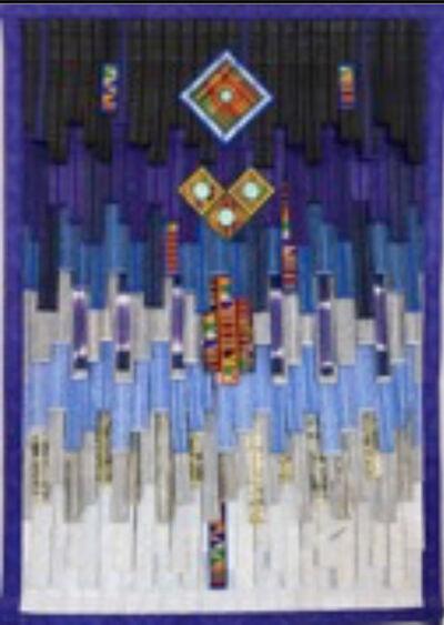Abdoulaye Konaté, 'Bleu au kente, (motifs du Sahel 2)', 2020