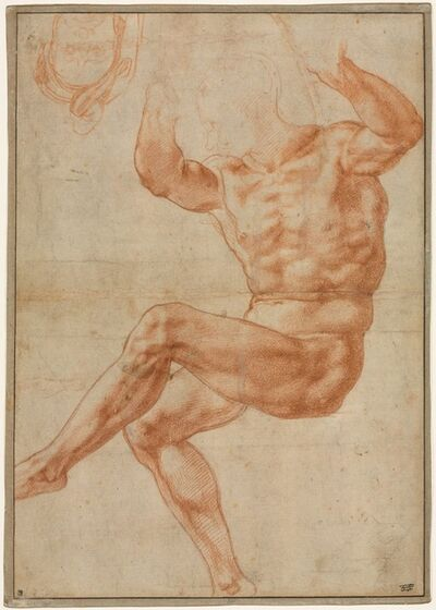 Michelangelo Buonarroti, 'Study for the Nude Youth over the Prophet Daniel (recto)', 1510-1511
