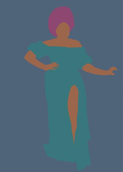 Samantha Viotty, 'Stand Strong- Digital Illustration of  Black Woman - Feminism -  Pink+Blue+Teal', 2020