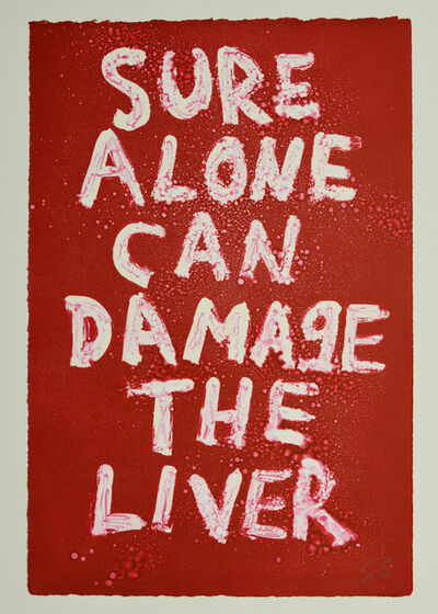 Edgar Heap of Birds, 'SURE ALONE CAN DAMAGE THE LIVER', 2019