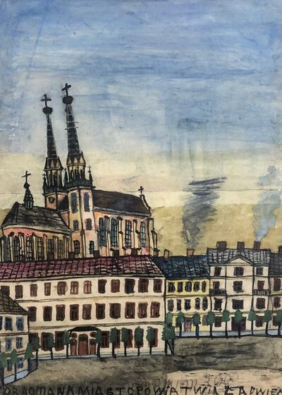 Nikifor Krynicki, 'Untitled (Church in Background) ', 1960-1965