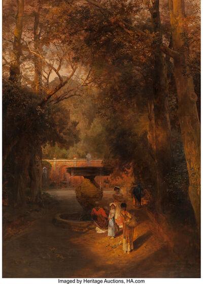 Oswald Achenbach, 'Gardens and fountain of the Villa Torlonia, Frascati, Rome', 1881