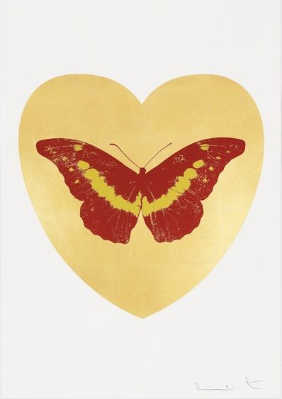 Damien Hirst, 'I Love You - gold leaf, poppy red, oriental gold', 2015
