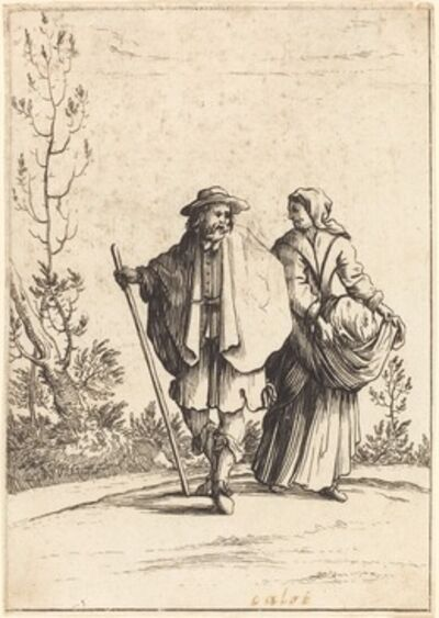 after Jacques Callot, 'Beggar Couple, with Landscape in Background', 17th century