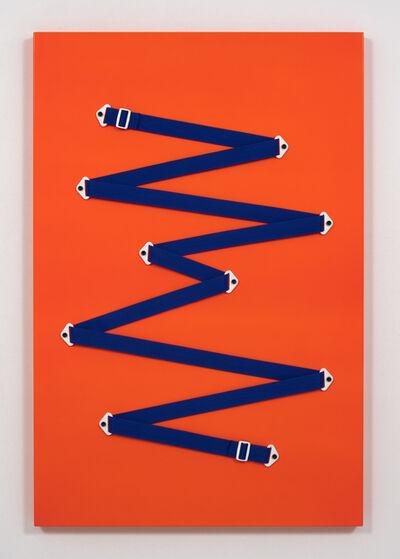 Joshua Saunders, 'Blue Gesture on Neon Orange (Denver Broncos #2)', 2016