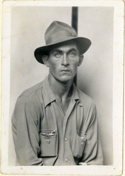 Mike Disfarmer, 'Seated man (Daulton Hartsfield)', ca. 1940