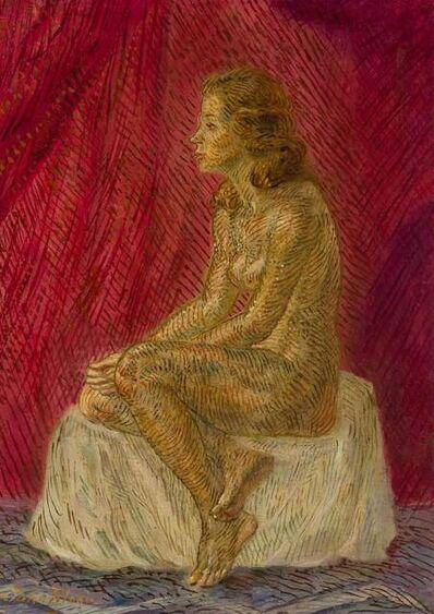 John Sloan, 'Nude in Profile, Red Curtain', 1944