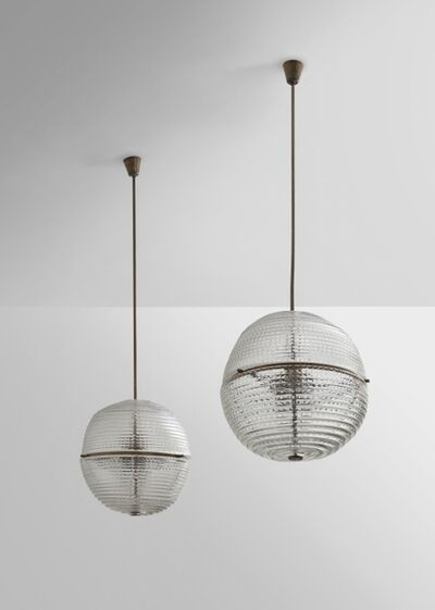 Venini, 'A pair of hanging lamps  5432 model', circa 1941