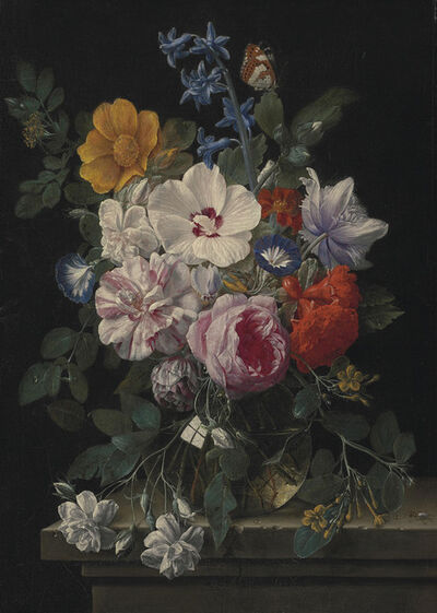 Nicolaes van Veerendael, 'Flowers in a glass vase with a butterfly and beetle on a stone ledge'