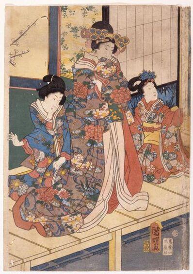 Utagawa Kuniaki II, 'Spring Colors: Lion Dance at A Mansion (Shunshoku Yakata No Shishi-Mai)', 1861-12th month