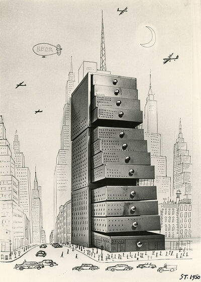 Saul Steinberg, 'Chest of Drawers Cityscape', 1950