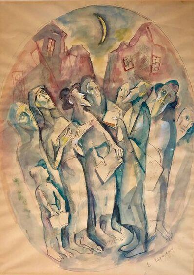 Emanuel Romano, 'Modernist Watercolor Painting Judaica Kiddush Levana Blessing New Moon', 20th Century