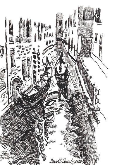 John Bratby, 'Small canal scene, Venice', ca. 1988