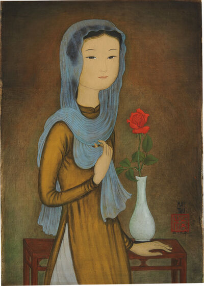 Mai Trung Thứ, 'La Rose Rouge (J. femme à l'écharpe) [The Red Rose (Young Lady with Scarf)]', 1959